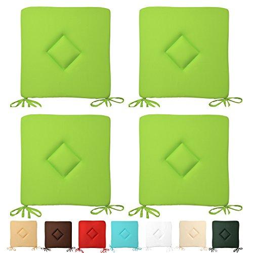 Beautissu® 4er Set Stuhl-Kissen Kim - 40x40x3 cm Apfelgrün (Grün) - Sitz-Auflage - Deko-Polster für Wohnung & Garten