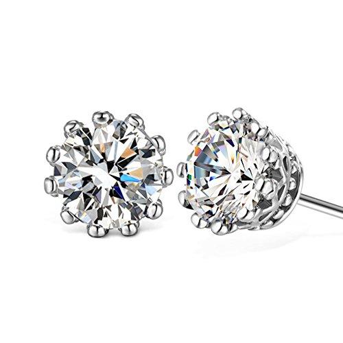 Chryssa Youree 6mm Round Cut CZ Cubic Zirconia Stud Earrings Gold Earrings for Men Women 3.50 Carats Crown Earring (ED13)