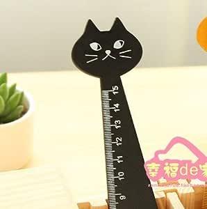 kentop regla de madera Kawaii Animal diseño de gato negro Ruler Dibujo sastre instrumento de medida regla de costura Fournitures scolaires ideal para niños estudiantes 15 cm1pcs: Amazon.es: Oficina y papelería