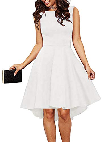 REORIA Women Sleeveless Boat Neck High Low Cocktail Skater Swing Dress Off White X-Large