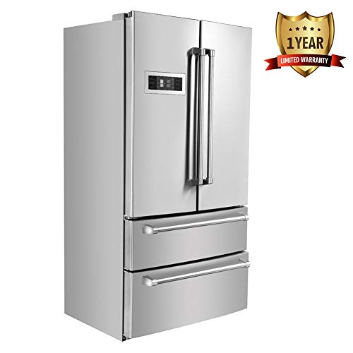 - Thor Kitchen 36inch Stainless Steel Refrigerator with 5.69 cu.ft Freezer/15.16 cu.ft Fridge and Automatic Ice Maker - Counter Depth French Door - 1 Years of Warranty - HRF3601F