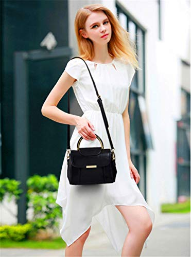 SHENHAI Lady New señora Mujer Leather Portable Bolso para Marrón Negro Bolso para Bag Wild Crossbody Bolso Shoulder rEAqwr7