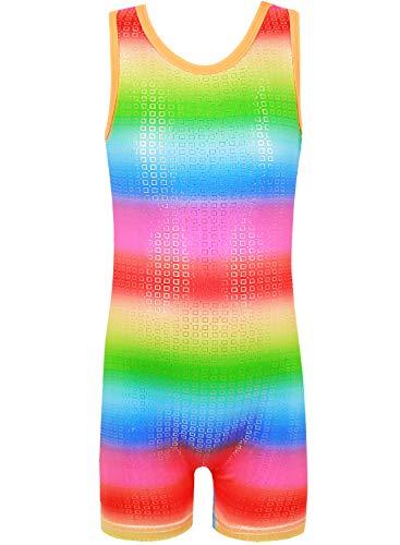 - CEMXX Leotards for Girls Gymnastics Tank Sleeveless Dancing Unitards Sparkly Rainbow Stripes Leotards(RedShorts,130 for 6-7Y)