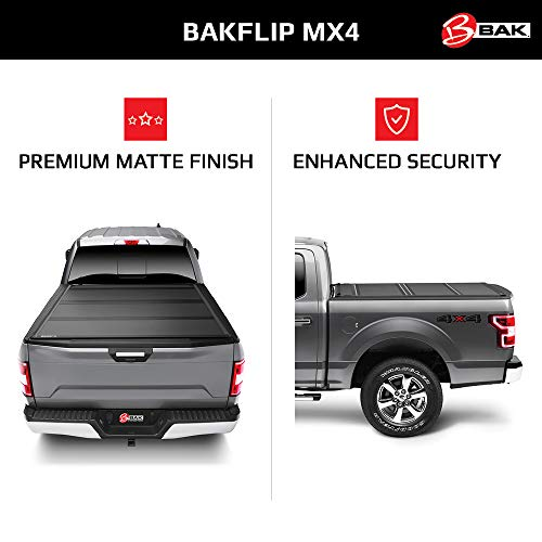 "BAK BAKFlip MX4 Hard Folding Truck Bed Tonneau Cover | 448130 | Fits 2019-20 New Body Style GM Silverado, Sierra 1500 5'8"" Bed"