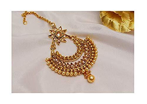 Gold Antique Kundan Bollywood Chaand Headpiece Tikka Indian Tikka