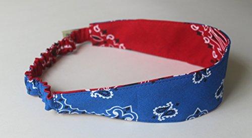 Bandana Headband made with actual Bandanas, Reversible Red/Royal