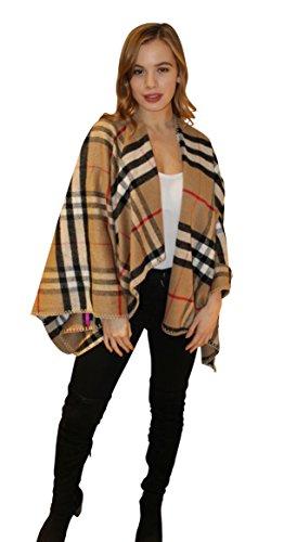 Cape laine à carreaux style couverture beige