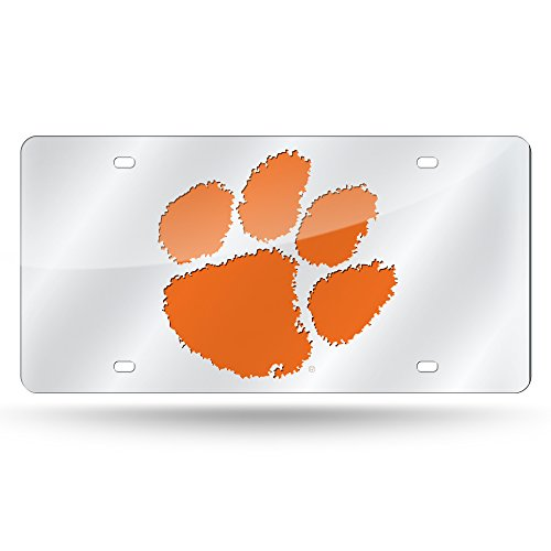 (Rico Industries NCAA Clemson Tigers Laser Inlaid Metal License Plate Tag, Silver)