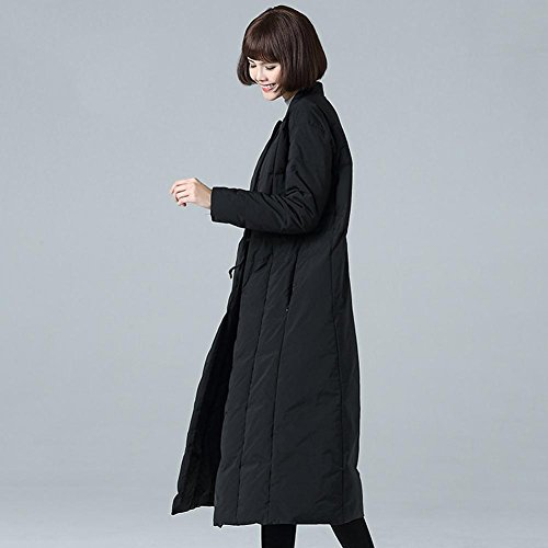 parkas Black lightweight slim jacket outwear down coats fashion long thickened warm button women 7POdq
