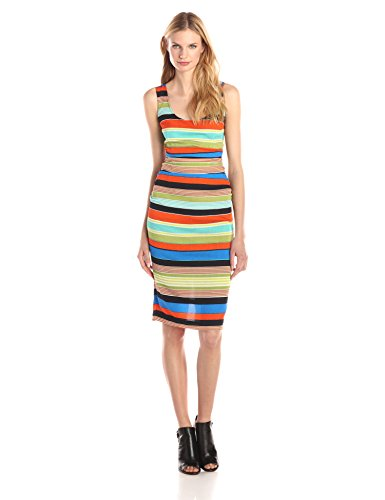 Ruched Silk Sheath Dress (Tracy Reese Women's Silk Sheath Dress, Bold Stripe, 10)