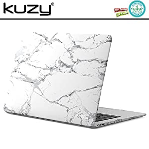 """Kuzy MacBook Air 13 Case Rubberized Hard Plastic Cover for A1466/A1369 Shell 13.3"""" - Marble Pattern WHITE-GRAY"""