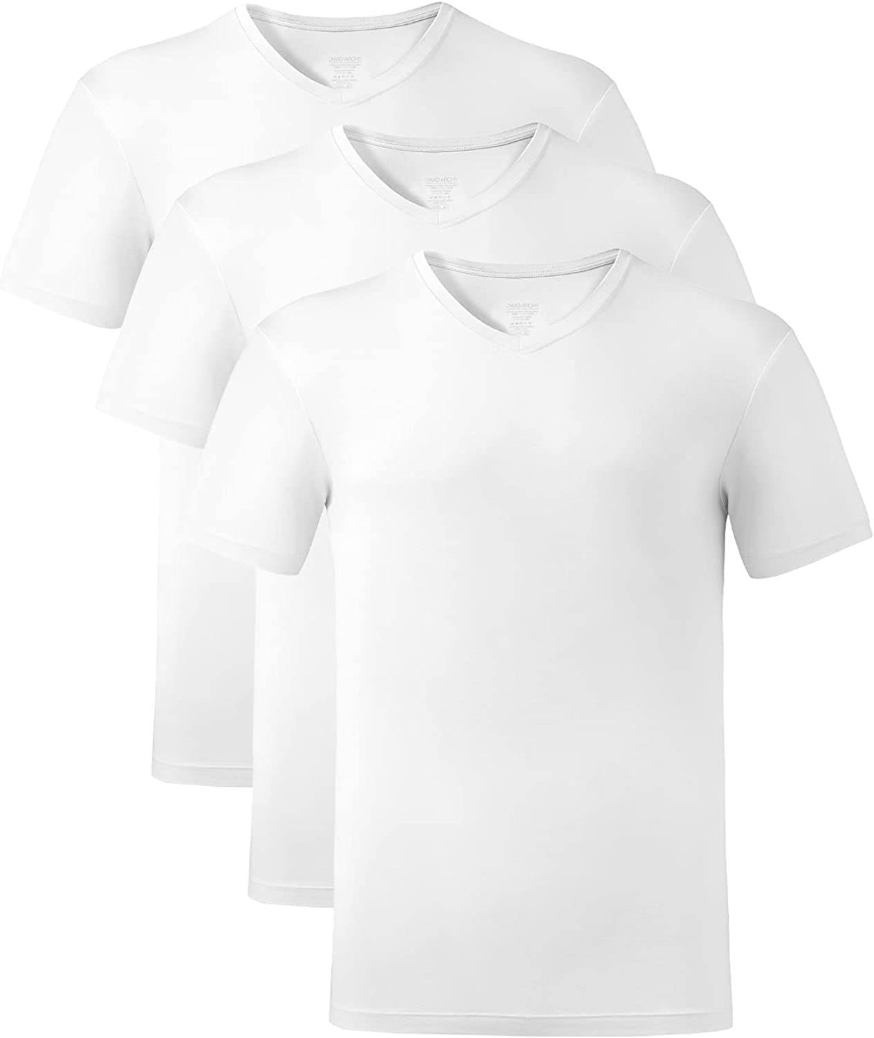 DAVID ARCHY Men's Undershirts Ultra Soft Bamboo Rayon V-Neck Breathable T-Shirts in 2 or 3 Pack