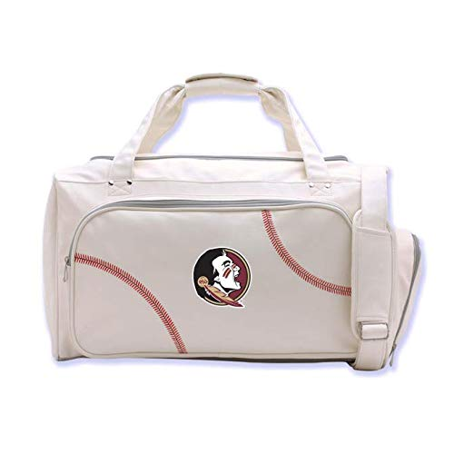 Zumer Sport Florida State Seminoles Baseball Leather Travel Kit Duffel Gym Bag - Made from Genuine Baseball Materials - Shoulder Strap - Handles - Shoe Compartment - White