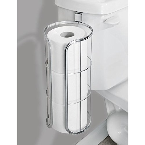 mDesign Modern Over the Tank Hanging Toilet Tissue Paper Roll Holder and Reserve for Bathroom Storage - Stores Three Extra Rolls, Holds Jumbo-Sized Rolls - Durable Metal Wire in Chrome