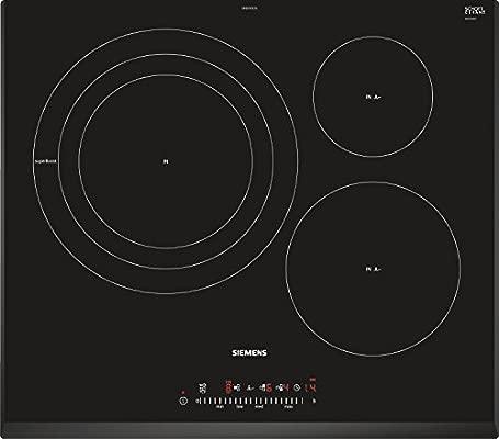 Siemens EH651FDC1E iQ300 - Placa de cocina por inducción, ancho 60 cm, 3 áreas de cocción con zona gigante, tecnología fryingSensor, 7400 W, bisel ...