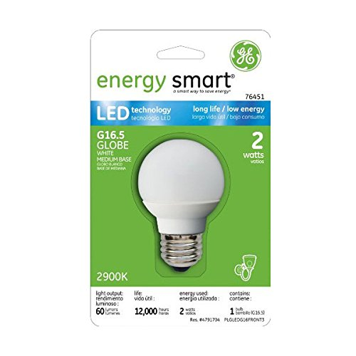 GE Lighting 76451 Energy Smart LED 2-Watt (10-watt replacement) 60-Lumen G16.5 Light Bulb with Medium Base, 1-Pack
