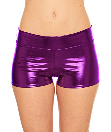 Red Hanger Women's Rave Booty Shorts Mini Hot Pants, Metallic Wet Look, by, Purple-M -