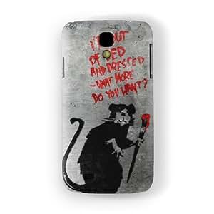 Banksy Rat with Umbrella Funda Completa de Alta Calidad con Impresión 3D, Snap-On, Diseño Negro Formato Duro parar Samsung® Galaxy S4 de Banksy
