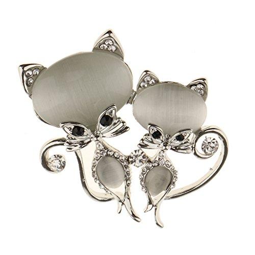 - Homyl Elegant Opal Rhinestone Fox Brooch Pin Jewelry Daily Decor Accessory Gift - Silver
