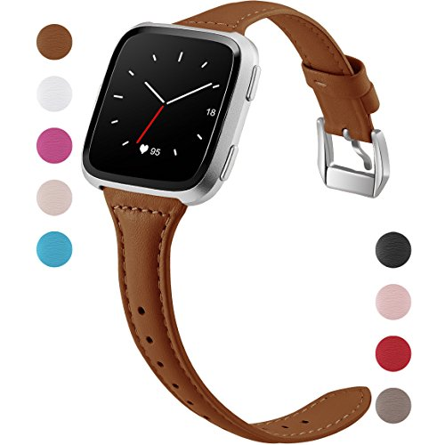 Maledan Replacement Bands for Fitbit Versa, Slim Genuine Leather Strap Accessories Replacement for Fitbit Versa Smartwatch, Small, Brown ()