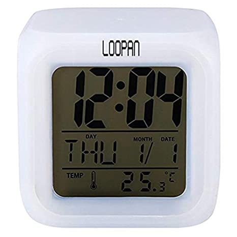 Loopan Digital 7 Color Changing LED Alarm Table Desk Clock with Calender Time Temperature Lights with Date Time for Office Bedroom Alarm Clocks at amazon