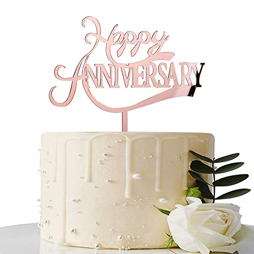 Mirror Rose Gold Happy Anniversary Cake Topper - for Wedding Anniversary/Anniversary/Birthday Party Decorations