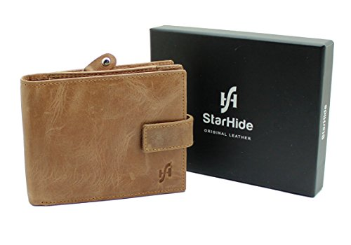 StarHide® Männer RFID Blockierung Zweifach Echtes Gebeiztes Leder Geldbörse Mit Großem Reißverschluss Münztasche Tasche - ID-Kartentasche und Kreditkartenhalter #1180 (Hellbraun)