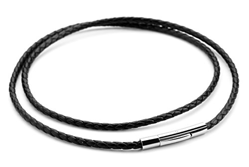Hamoery Women Men 3mm Leather Cord Chain Necklace Black Braided Rope Stainless Steel Clasp Chain Necklace 14-30 Inch(Black,16.0 inches)
