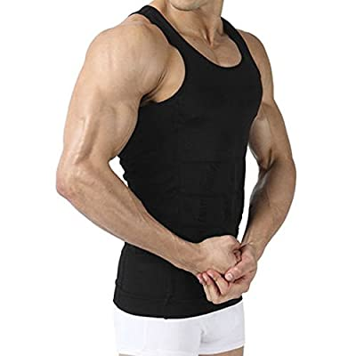 Image Men's Body Shaper Slimming Shirt Tummy Waist Vest Lose Weight Shirt, Men's Elastic Sculpting Vest Thermal Compression Base Layer Slim Compression Muscle Tank Shapewear for Men