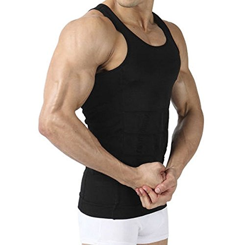 Image Men's Body Shaper Slimming Shirt Tummy Waist Vest Lose Weight Shirt, Men's Elastic Sculpting Vest Thermal Compression Base Layer Slim Compression Muscle Tank Shapewear for Men, Black, M (Mens Shaper Vest)