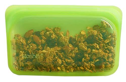Stasher Reutilizable Alimentos Bolsa de Almacenamiento/Bolsa, 19 cm x 12 cm, Silicona, Verde, 1,5 x 19 x 12 cm