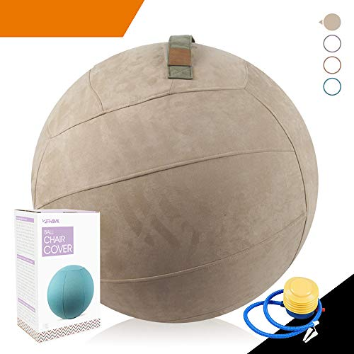 Sport Shiny Classic Balance Ball Chair,Exercise Stability Yoga Ball with Machine Washable Slipcover,Ergonomic Sitting Ball Chair for Multiple Appliances,65cm Size,Beaver,Quick Pump&Instruction