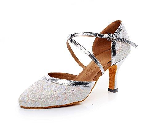 JSHOE Mode Féminine Mesh Ballroom Latino Tango Danse Chaussures Dames Doux Semelle Haute Talon Chaussures Pour Danse Classe,Silver-heeled7.5cm-UK6/EU39/Our40
