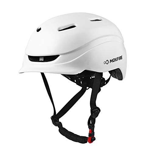 MOKFIRE Adult Bike Helmet with USB Rear Light, Bicycle Cycling Helmet CPSC Certified for Urban Commuter, Adjustable Lightweight Biking Helmet for Adults Men Women 22.44-24 Inches(White)