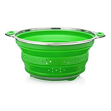 Oberhaus Premium Collapsible Silicone Colander/Strainer with Stainless Steel Base (Available Colors: Red, Blue and Green) (Green)