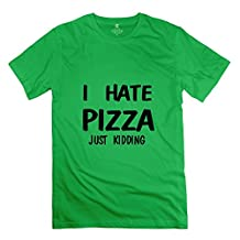 Fire-Dog Men's I Hate Pizza Tees Size XS ForestGreen