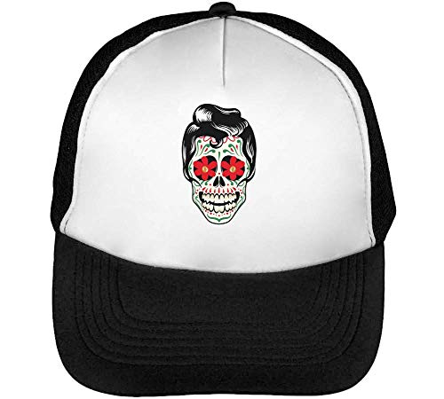 Floral Skull Hipster Fashioned Graphic Gorras Hombre Snapback Beisbol Negro Blanco