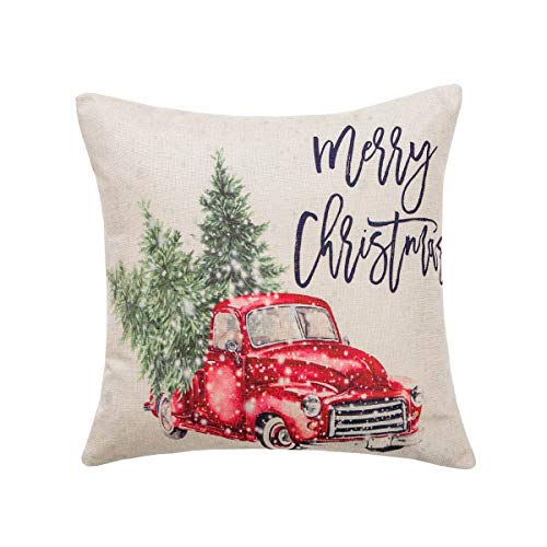 Vanky Christmas Tree and Red Car Throw Pillow Cover Christmas Decorative Throw Pillows Cushion Cover 18 x 18 Inch Cotton Linen for Sofa(Vintage Truck)