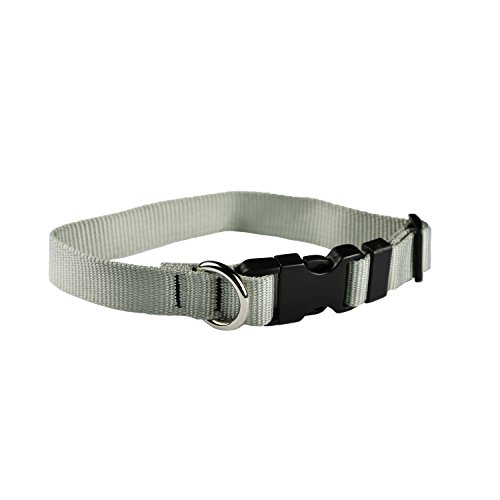 Moose Pet Wear Classic Dog Collar - Adjustable Pet Collars, Made in The USA - 1 Inch Wide, Extra Large, Silver ()
