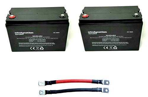 - 2pcs WindyNation 100 amp-Hour 100AH 12V 12 Volt AGM Deep Cycle Sealed Lead Acid Battery - Solar RV UPS Off-Grid (2 pcs 100 amp-Hour)