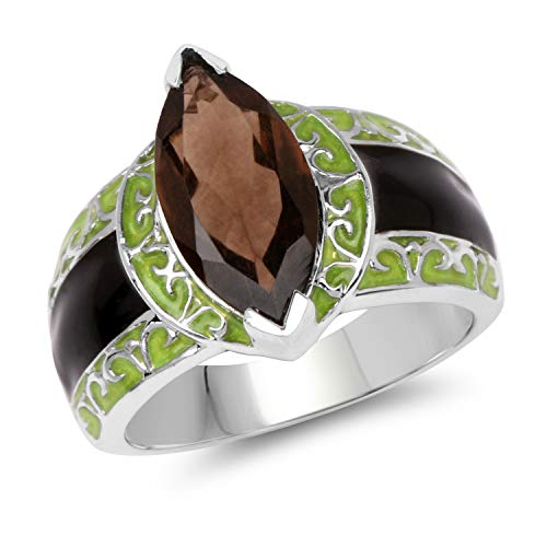 Bonyak Jewelry Genuine Marquise Smoky Quartz Ring in Sterling Silver - Size 8.00