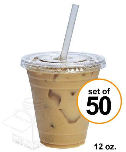 Clear Plastic Cups Lids - 12 oz. Clear Plastic Cups With Flat Lids [50 Sets]