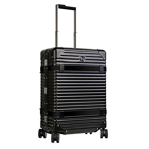LANZZO Aluminum Magnesium Alloy Luggage with Spinner Wheels TSA Lock Approved Hardshell Travel Suitcase Inlaid Leather Belt by LANZZO