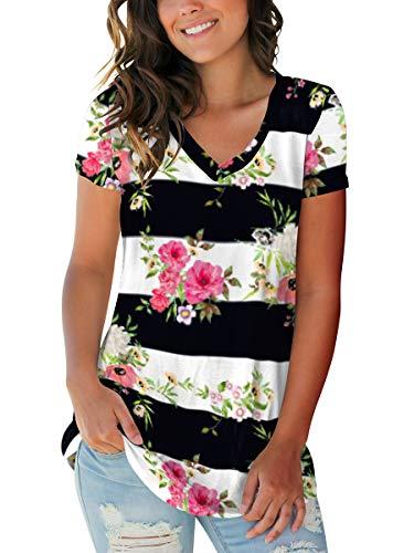 SAMPEEL Women's Basic V Neck Short Sleeve Floral T Shirts Summer Casual Tops