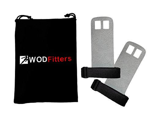 "WODFitters Textured Leather Hand Grips For Cross Training, Kettlebells, Powerlifting, Chin Ups, Pull Ups, WODs & Gymnastics - One pair with Carrying Pouch (Grey, Medium - Fits 4"" to 4 3/4"")"