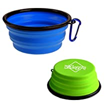 2-pack Collapsible Dog Travel Bowls Foldable Expandable Cup for Pet Cat Food Water Feeding Portable Travel Bowl - Food Grade Silicone BPA Free