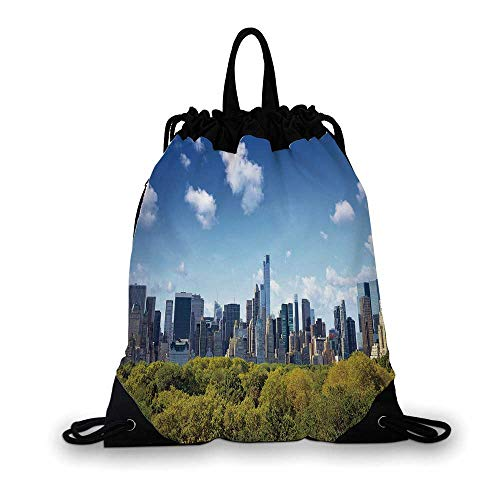 City Nice Drawstring Bag,Manhattan Skyline with Central Park in New York City Midtown High Rise Buildings For hiking,7.4