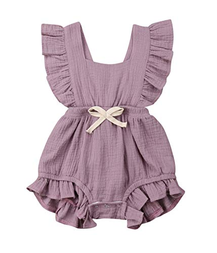 Qiylii Infant Baby Girl Ruffle Sleeve Romper One-Piece Bowknot Cotton Bodysuit Jumpsuit Outfit Clothes (12-18 Months, Light Purple)