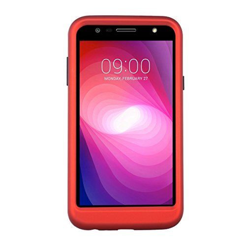 Funda LG X Power 2, Forhouse [Tres Capas] Funda Suave Flexible Ultra Delgado Fit Supple Suave Silicona [Heavy Duty] Duro PC Funda [Full Body Protection] Ligero Durable Antideslizante Anti choque Lustr Rojo + Negro