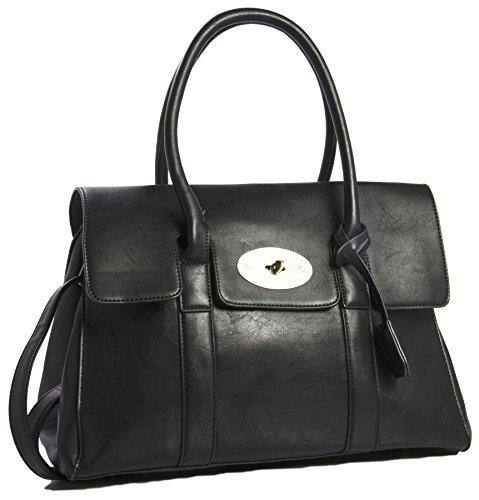 Big bolso Shop para mujer BOUTIQUE funda de piel sintética asa superior bolso bandolera Black (KL387)